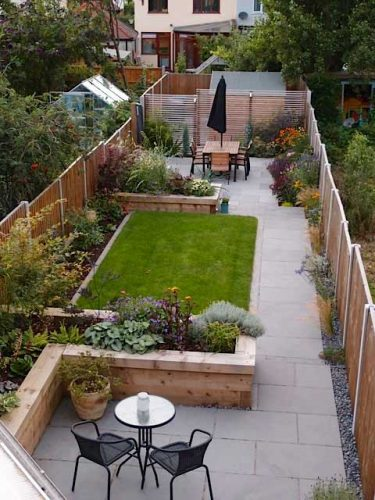 Long narrow gardens and other awkward shapes gardening for Garden sectioning ideas