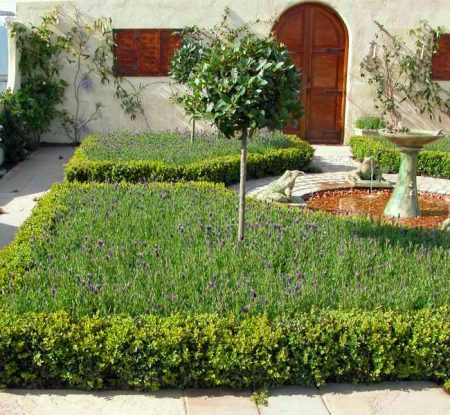 Formal garden with symmetrical flowerbeds