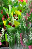 Tall vases of Lily of the Valley from the Weatherstaff PlantingPlanner blog