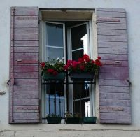 Windowboxes of red pelargoniums for a Mediterranean style garden