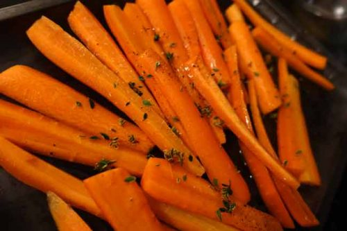 Roasted carrots with lemon scented thyme - planting herbs from the PlantingPlanner garden design software