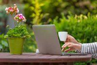 Laptop in garden PlantingPlanner Pro